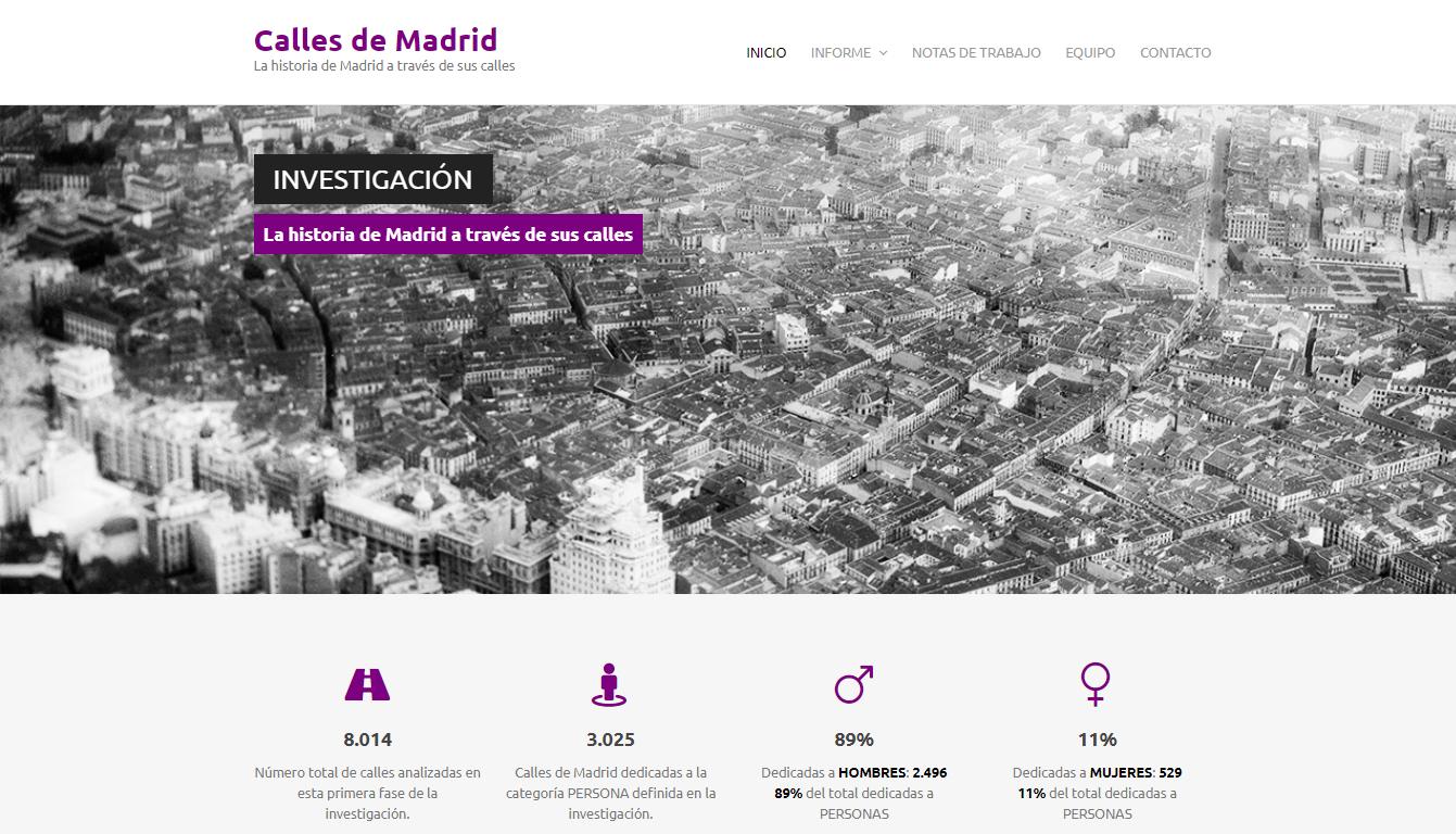 Portada de la web Calles de Madrid