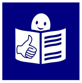 Logo europeo de lectura fácil. Aparece un personaje leyendo un documento y una mano con el dedo índice hacia arriba