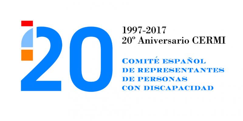Logo del 20 aniversario del CERMI