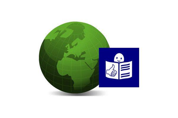 Logo de Planeta Fácil. Es un globo del mundo y el logo de la lectura fácil