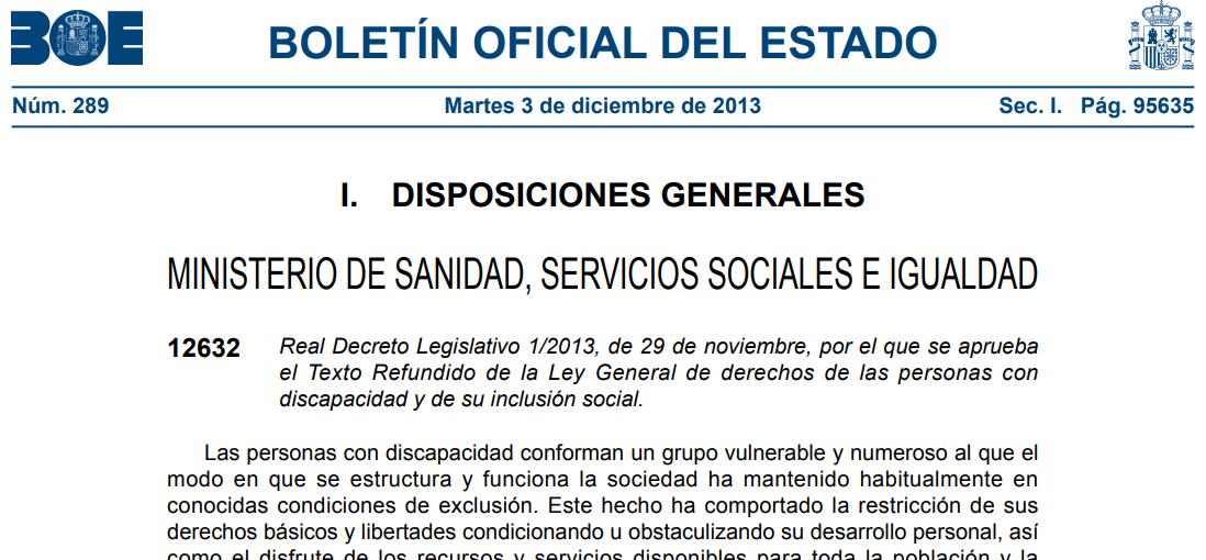 Captura de pantalla de la Ley de discapacidad