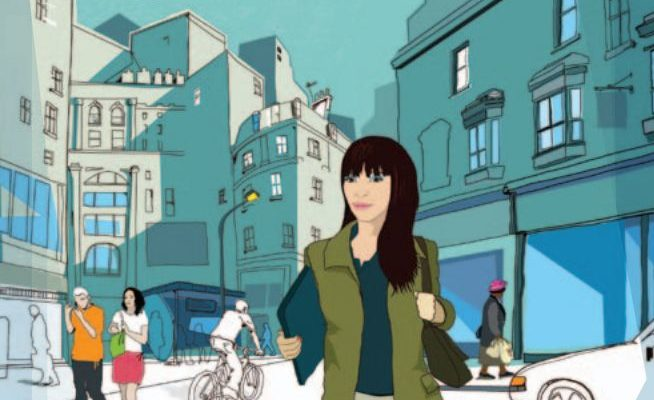Chica caminando en una ciudad