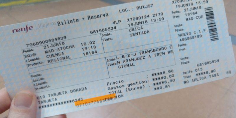 Billete con salida en Madrid Atocha y destino Cuenca. En una caja central pone L-M-X-J transbordo Aranjuez en tren regional