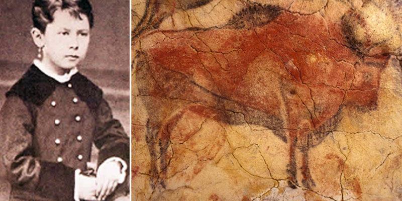 Foto de María y foto de una de las pinturas