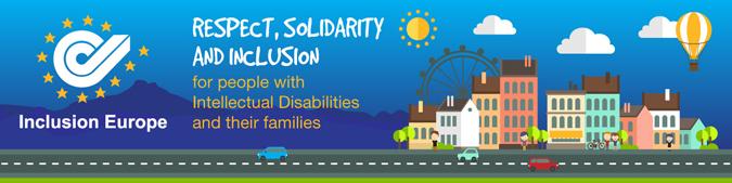 logo de inclusion europe con el paisaje dibujado de una ciudad. Respeto, solidaridad e inclusión
