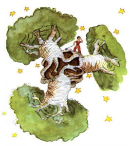 baobas enormes en planeta enano