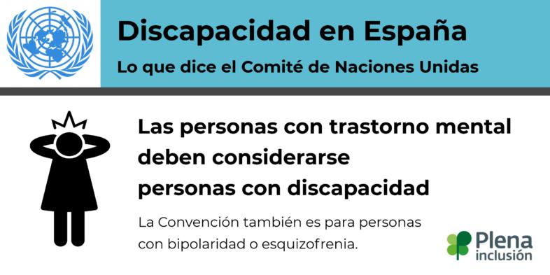 Discapacidad en España. Las personas con trastorno mental deben considerarse personas con discapacidad