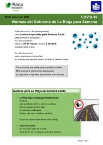 Plena inclusión La Rioja. Normas Semana Santa