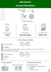 Plena inclusión Extremadura. Modelo de cartel centro de vacunación