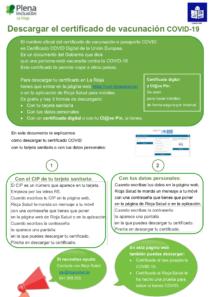 Plena inclusión La Rioja. Certificado Vacunación COVID19
