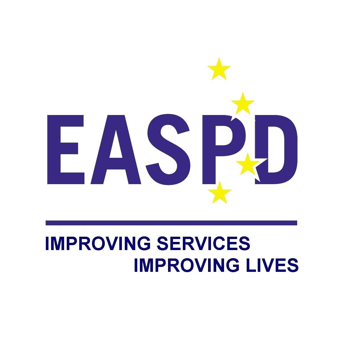 logo EASPD. siglas en azul y estrellas amarillas simulando la bandera europea