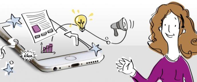ilustración de una mujer y un móvil con elementos como una bombilla, megáfono, gráfico, etc.